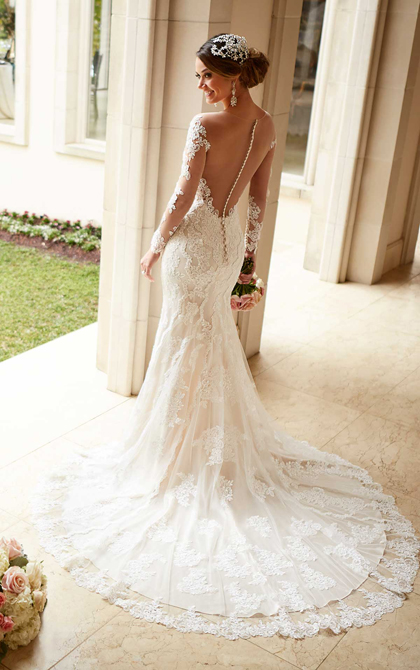 Wedding Dress with Illusion Lace Sleeves and Illusion Back