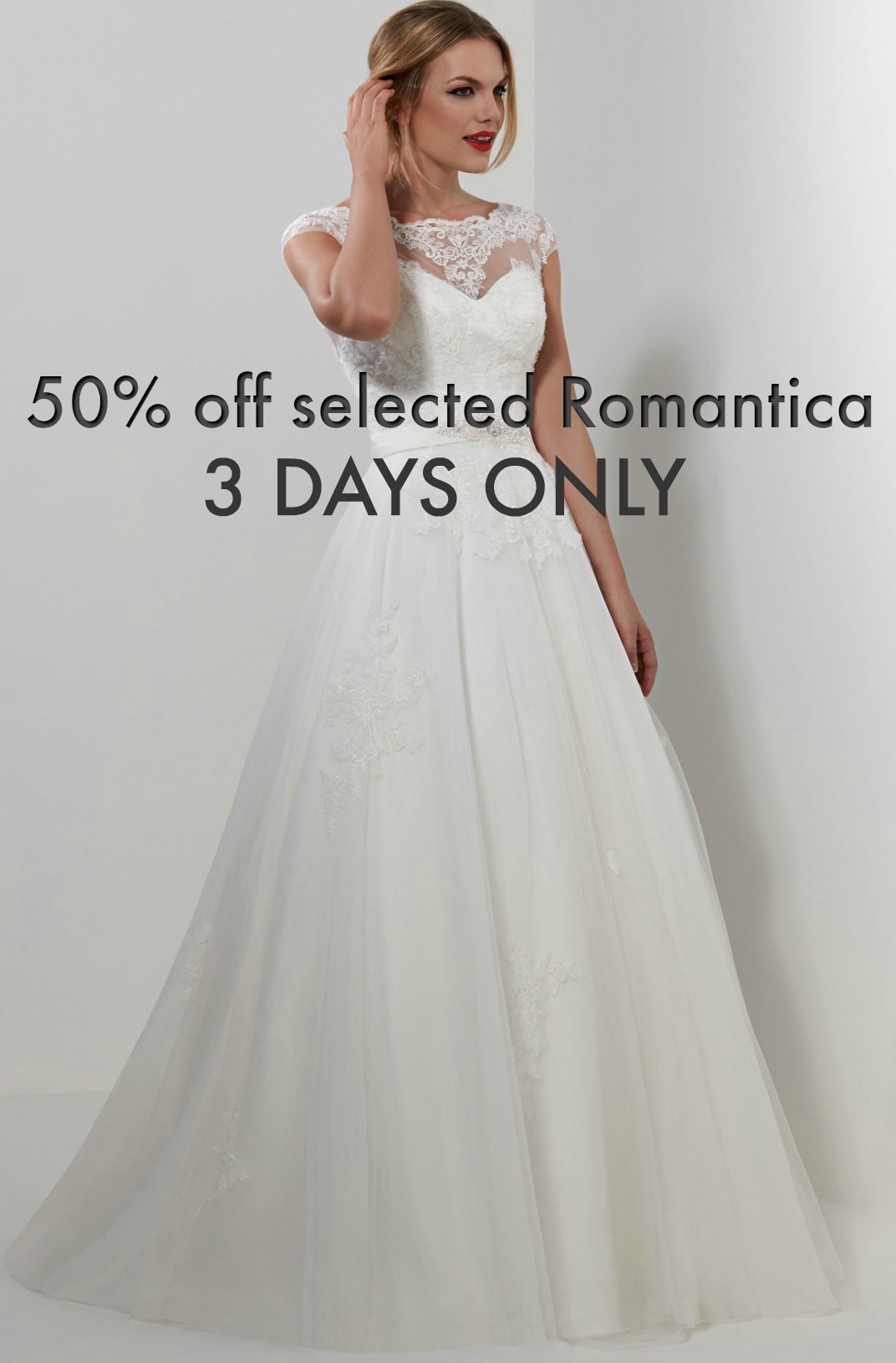 Romantica genuine designer ex-sample wedding dress size uk 12 gown.