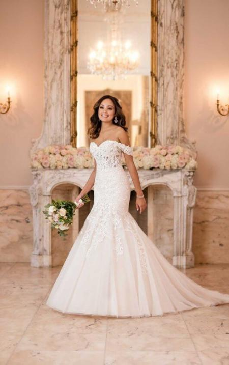 b93f84a126 Off the shoulder fit and flare Wedding dress