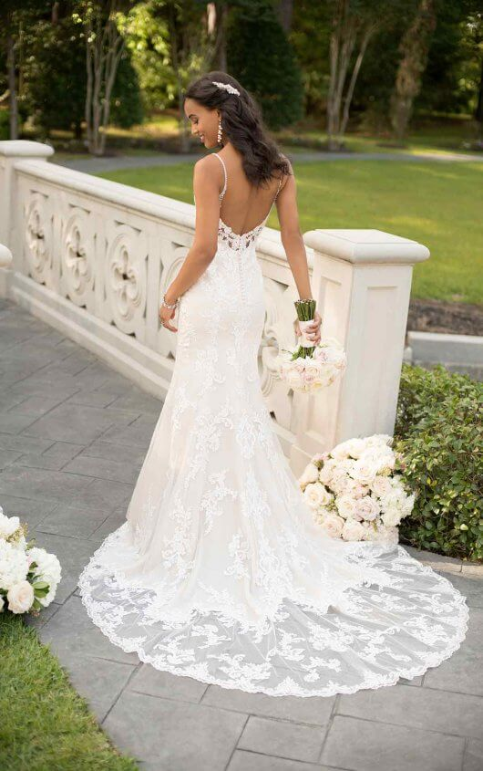 Fit And Flare Wedding Dress With Low Back Dress Me Pretty